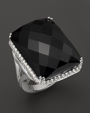 Badgley Mischka Octagon Black Onyx and White Topaz Ring | Bloomingdale's