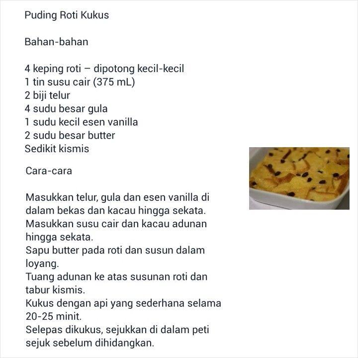 Resepi Puding Roti Kukus Roti Recipe Roti Bread Bread Recipes