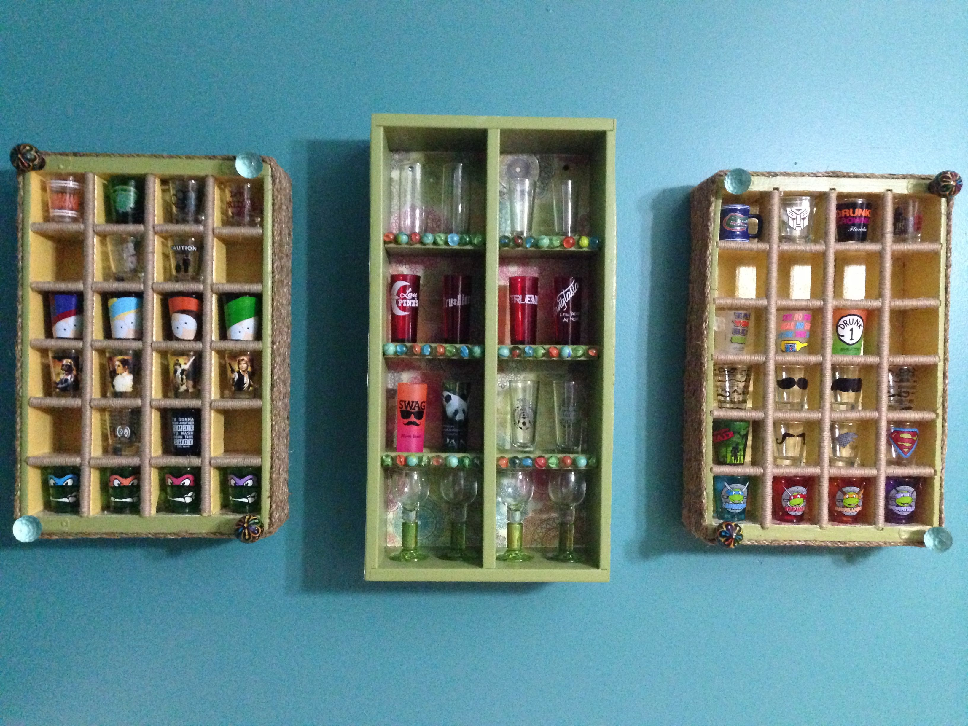 Upcycle Shot glass display cases that I made from coke crates and