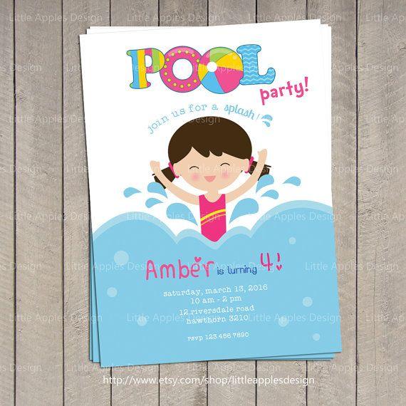 Pool Swim Party Invitation Pool Parties Pinterest Swim party