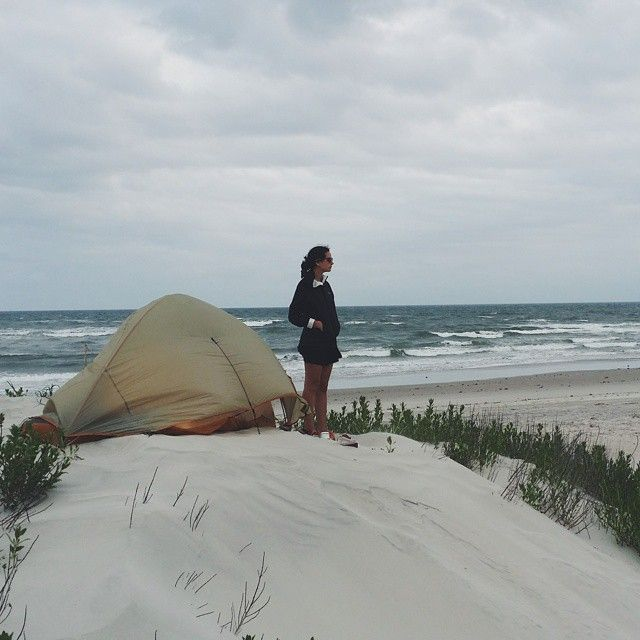 We arrived at the site and pitched the tent right away. No need for a sleeping pad when you have a bed of beach sand to sleep on.