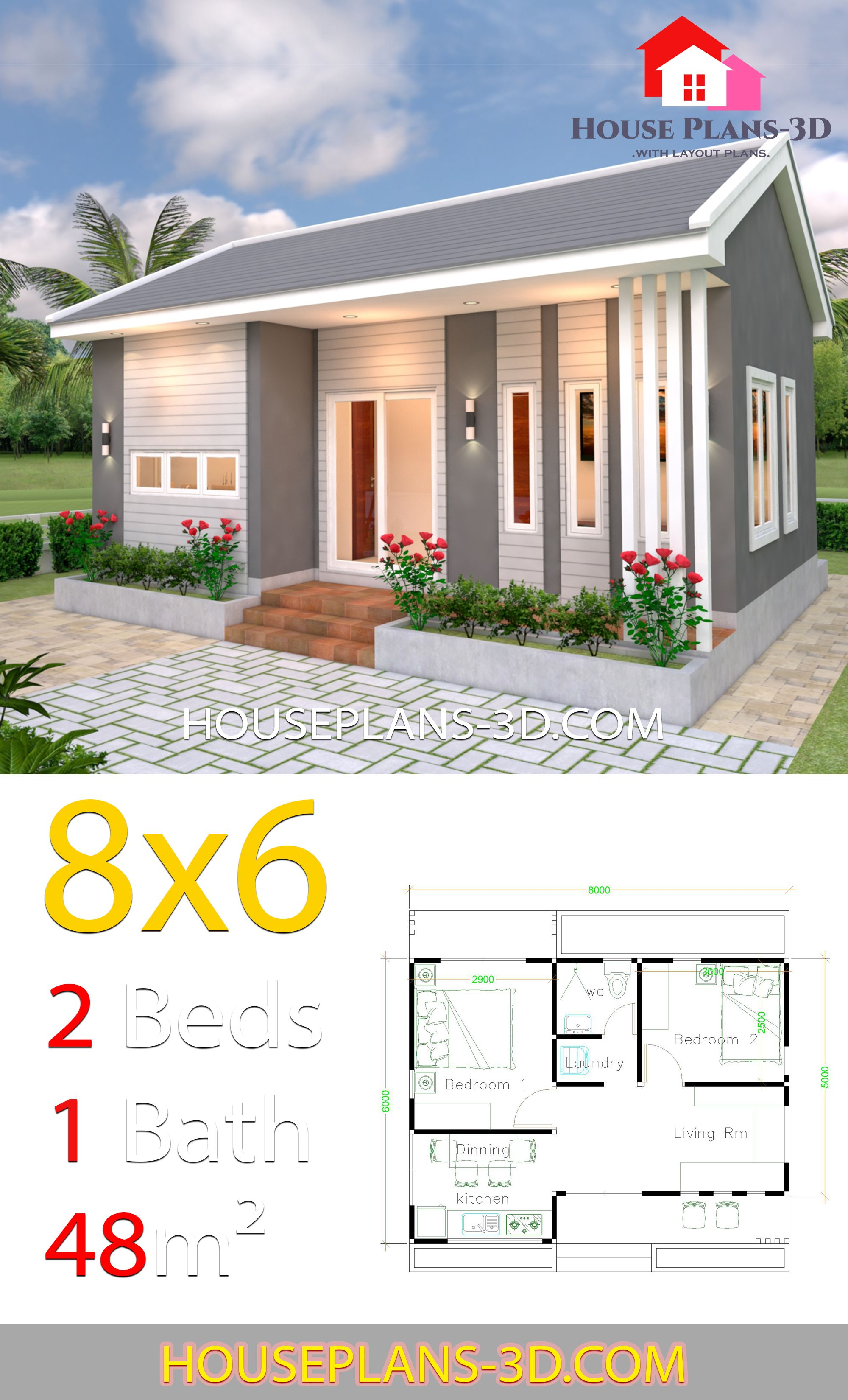 House Design Plans 8x6 With 2 Bedrooms House Plans 3d In 2020 House Design Bedroom House Plans 2 Bedroom House Plans