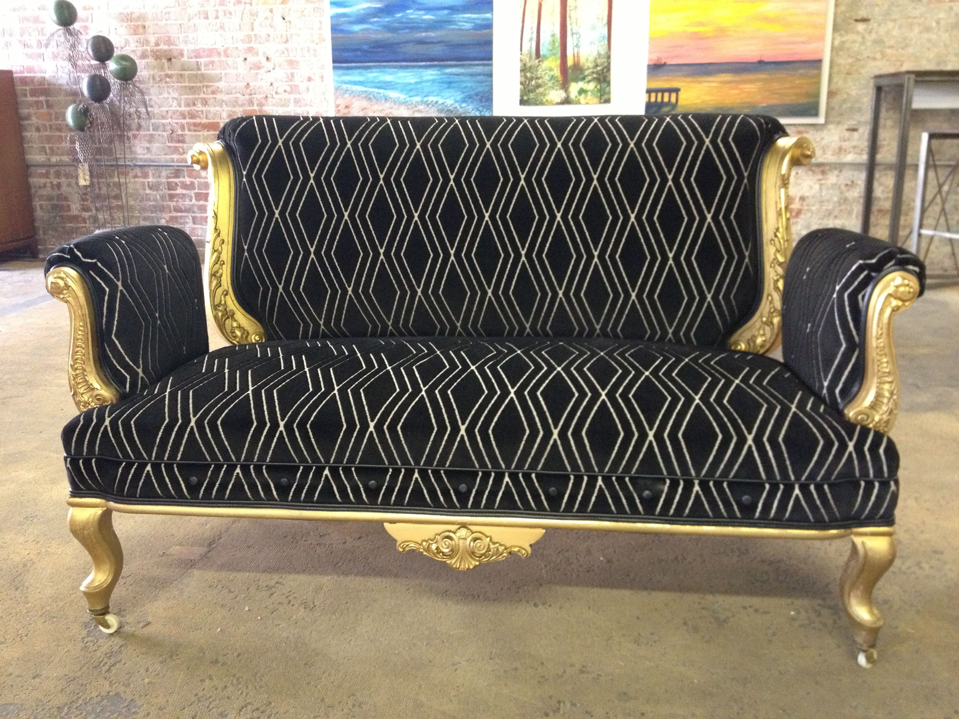 1800s Gilded Italianate Settee Reupholstered In Romo Velvet By Sit On It A Chair Gallery Kansas City Love Seat Reupholster Furniture