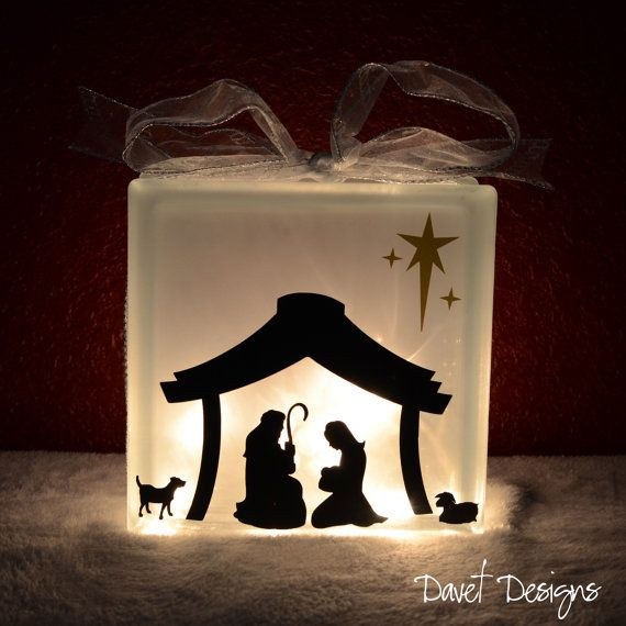 Nativity Scene Vinyl Lettering Fits Perfect On X KraftyBlok Or - Nativity vinyl decal for glass block light