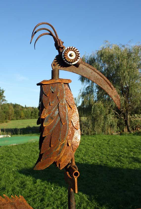 Yard Art Bird Feeder Recycled Garden Tools Metal Art Projects