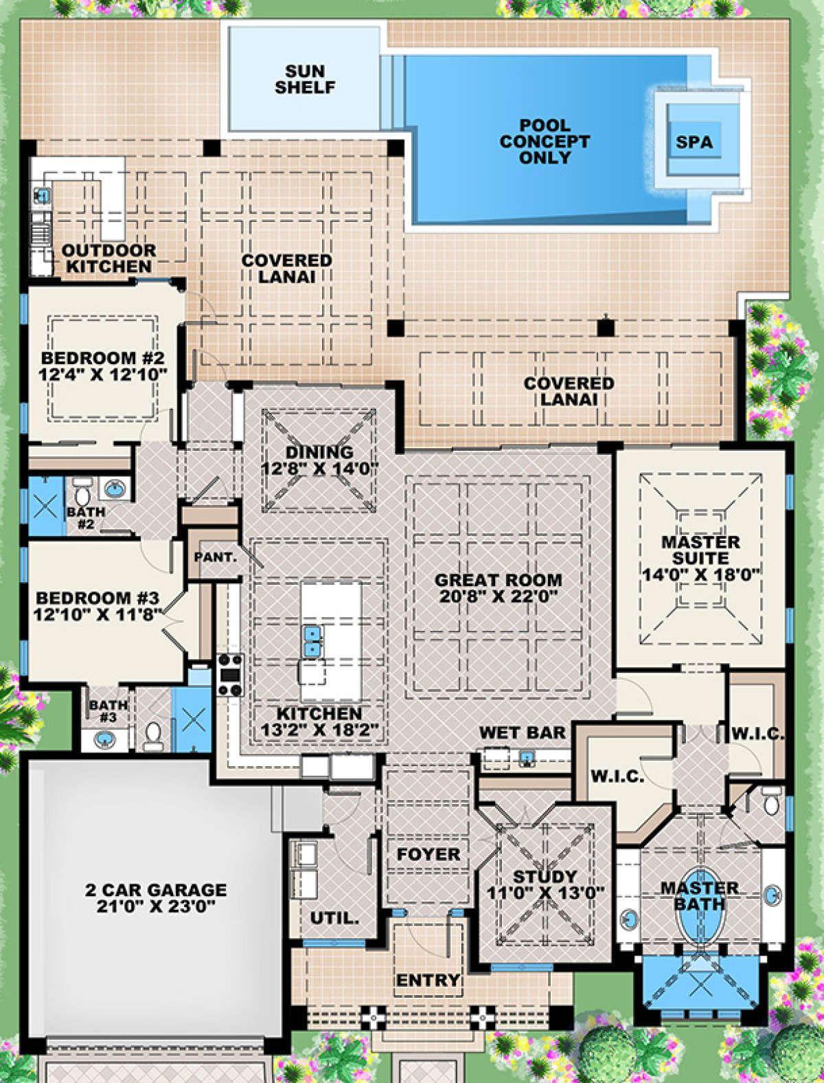 House Plan 1018 00237 Contemporary Plan 2 684 Square Feet 3 Bedrooms 3 Bathrooms Florida House Plans Mediterranean Style House Plans Pool House Plans