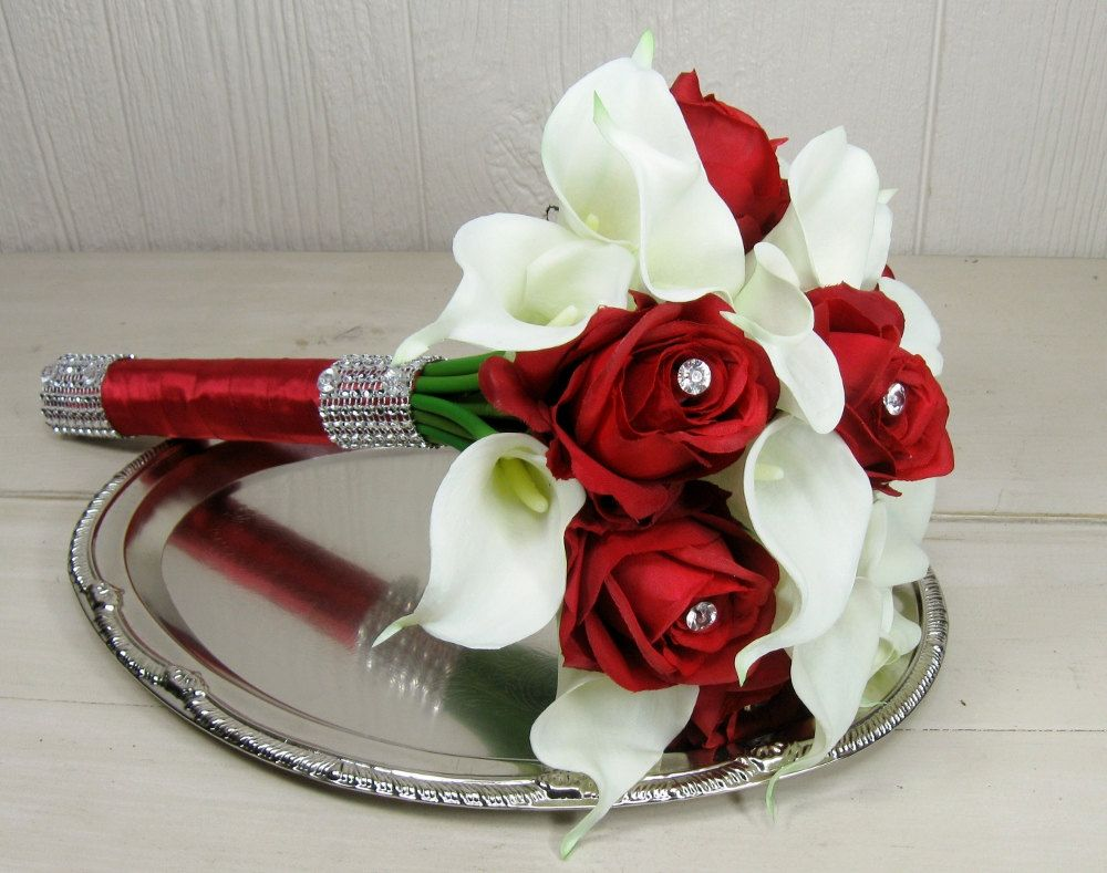 Red Rose and White Calla Lily Wedding Bouquet Set wedding
