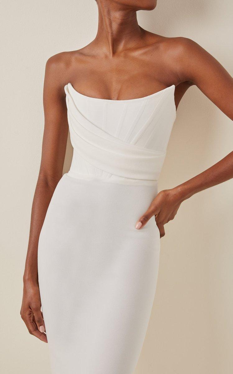 Exclusive Ryland Draped Stretch Crepe Strapless Midi Dress By Alex Perry Moda Operandi In 2021 Strapless Midi Dress Strapless Dress Formal Midi Wedding Dress [ 1200 x 749 Pixel ]