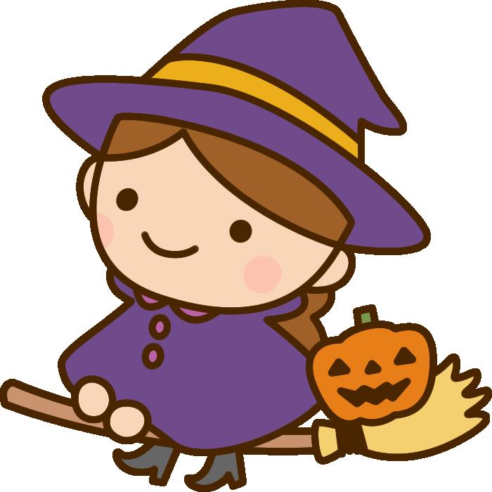 ほうきに乗った魔女魔法使いの女の子のハロウィンイラスト