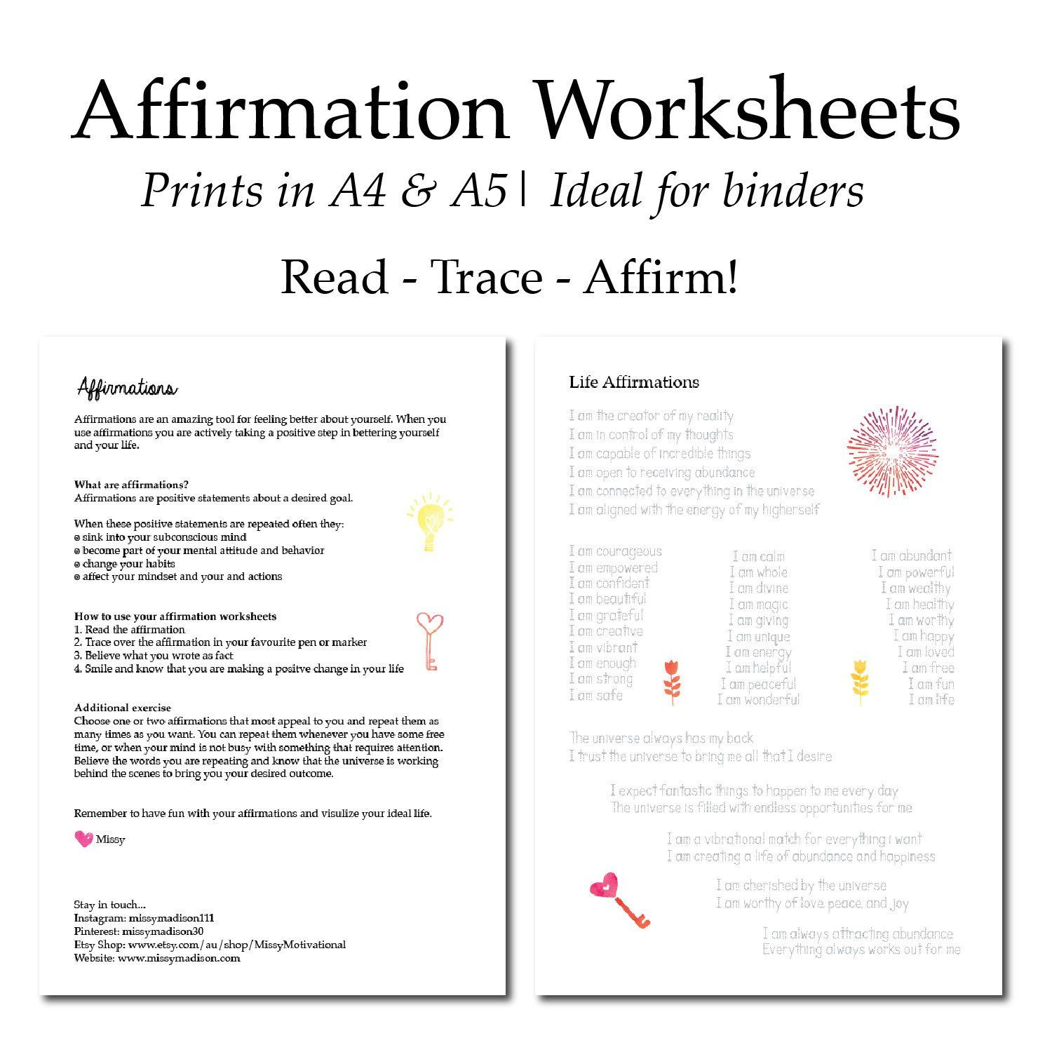 Affirmation Worksheets
