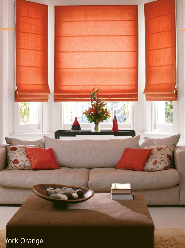 Lounge blinds and color pop this type of window treatment - Living room bay window treatments ...