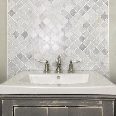 We Are In Love With The Hampton Carrara Marble Arabesque Mosaic