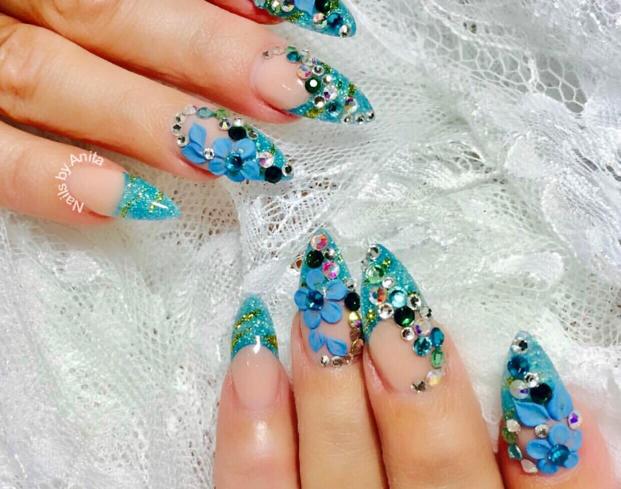 Acrylic Full Set Designs $90 Acrylic Nails With Designs | Nail Art ...