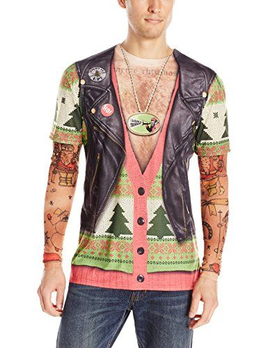 Men's Ugly Biker Christmas Sweater Complete with Faux Tattoos. I ...