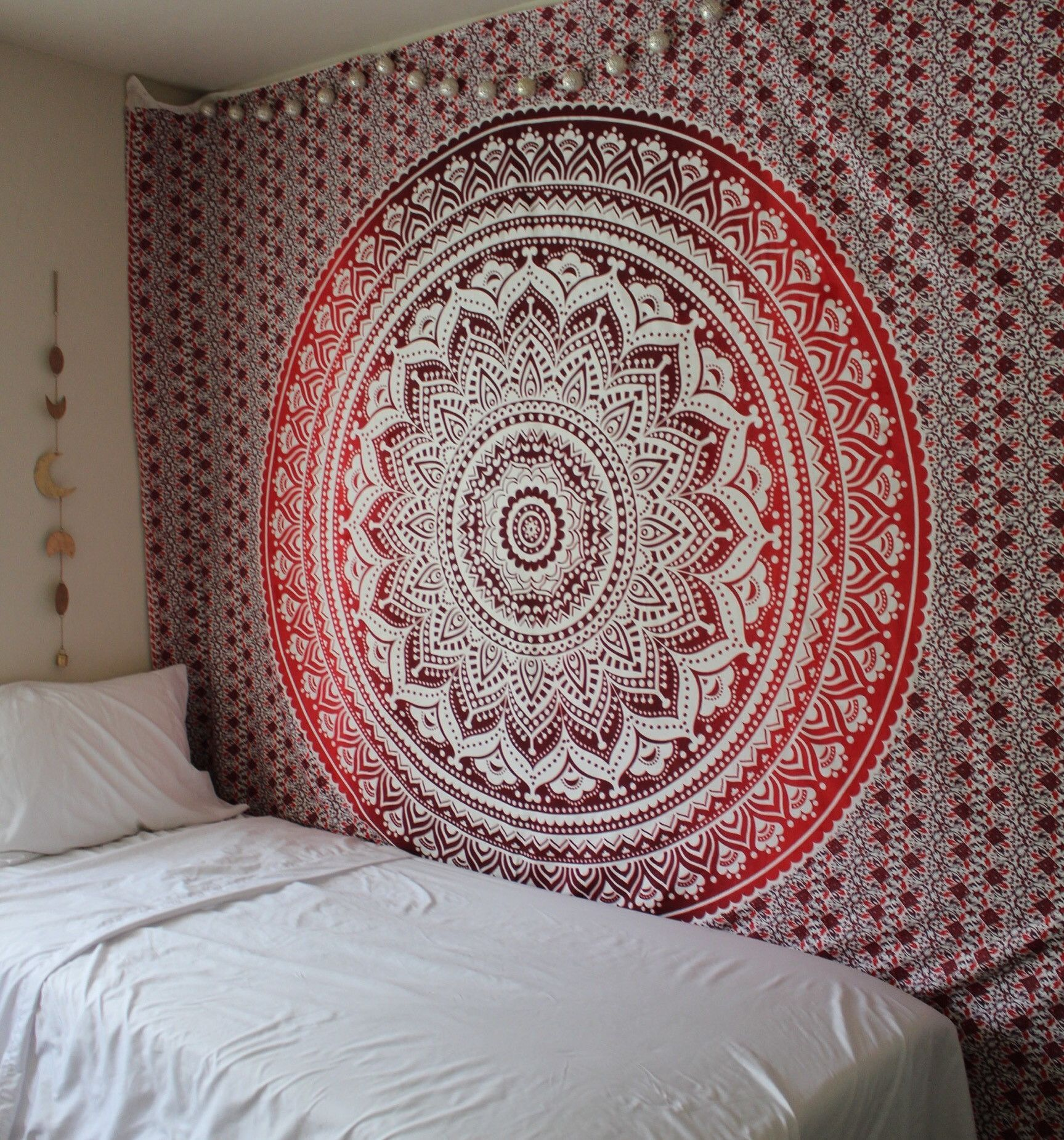 Hippie Trippy Red Ombre Mandala Tapestry