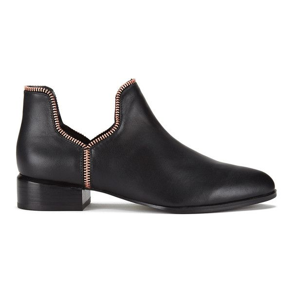 Senso Women's Bailey VIII Leather Ankle Boots - Ebony (1 915 SEK) ❤ liked on Polyvore featuring shoes, boots, ankle booties, black, black booties, ankle boots, low heel ankle boots, flat booties and leather ankle boots