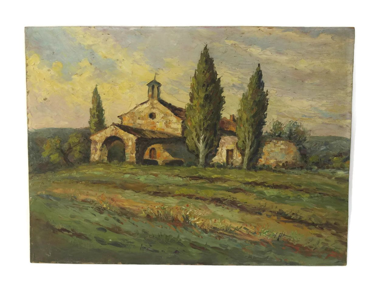 French Country Church Painting Rustic Oil Of Provence Landscape By Desire Allemand