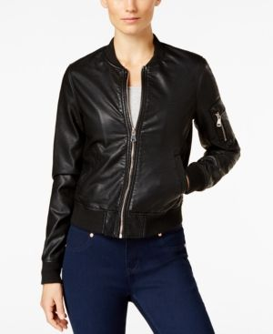 Madden Girl Faux Leather Bomber Jacket Black L Bomber Jackets