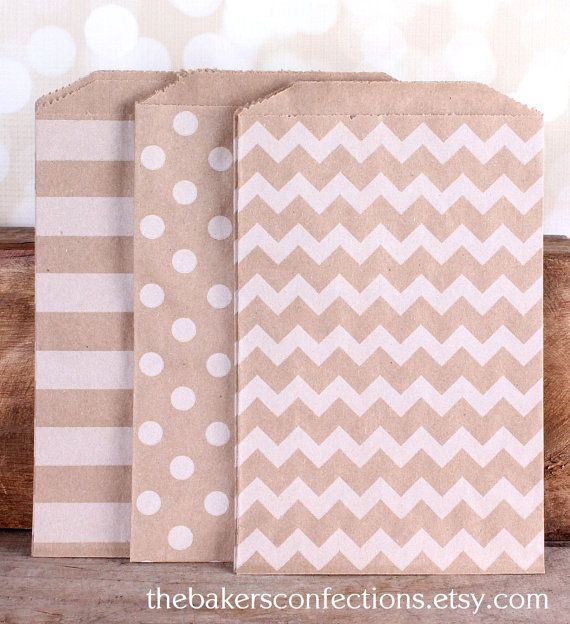 Valentines Gift Bags  Chevron Stripe & by thebakersconfections, $4.95