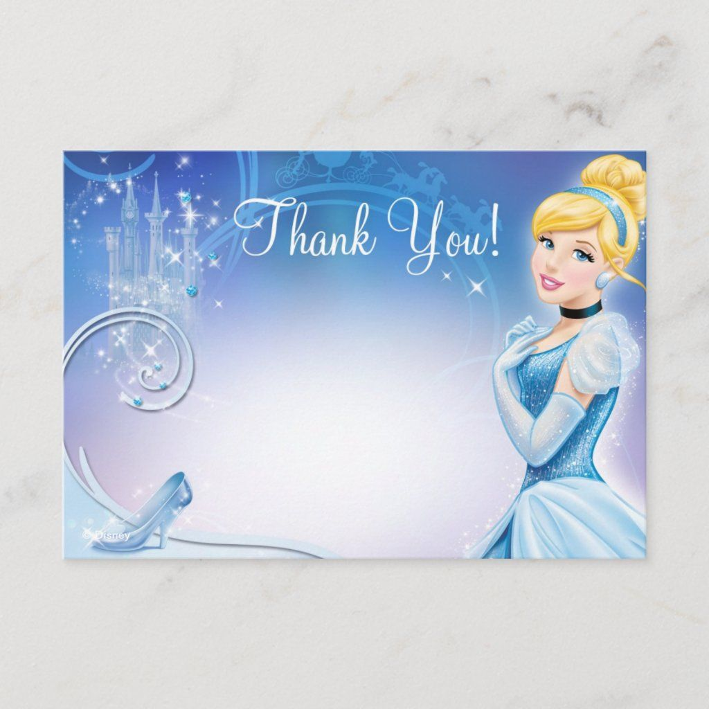 Cinderella 3 Thank You Cards Zazzle Com In 2021 Cinderella Invitations Kids Birthday Party Invitations Thank You Cards