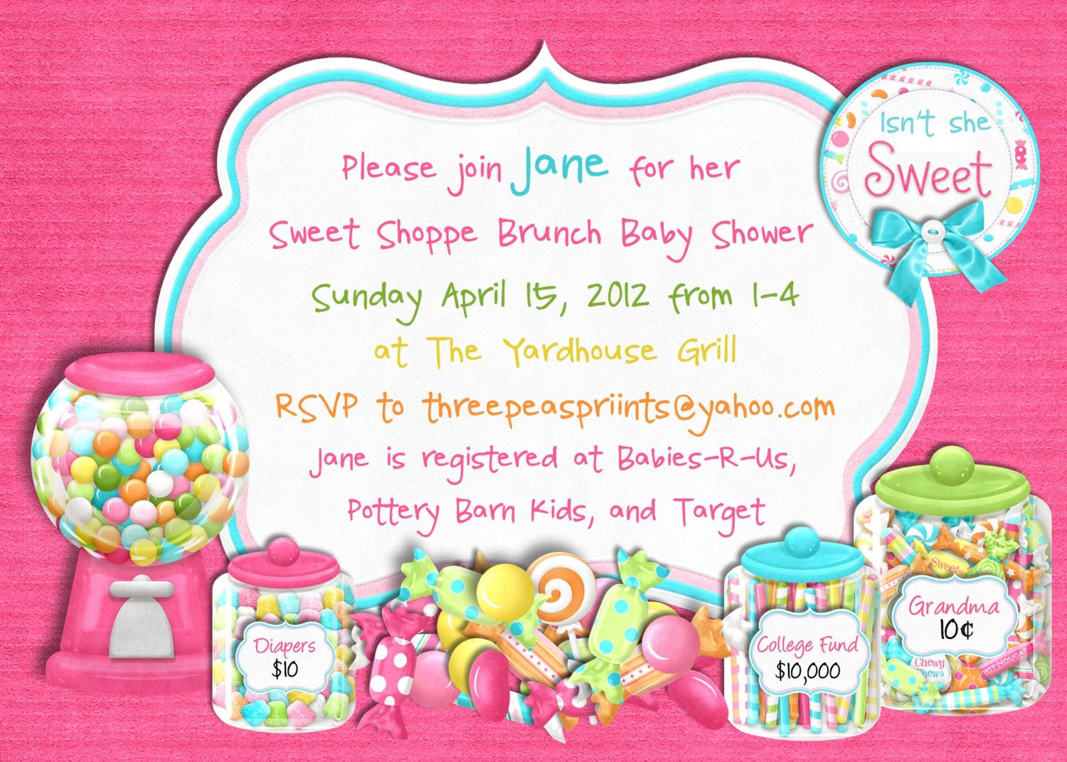 Candy Sweet Shoppe Baby Shower Invitation - Sweet 16 Birthday ...