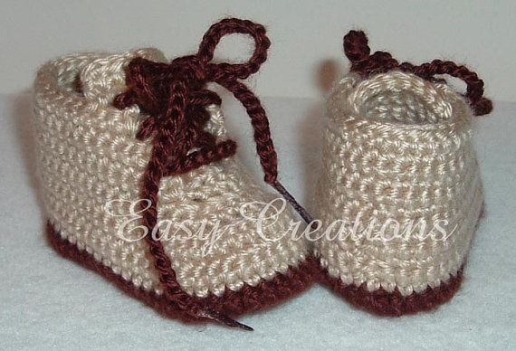 CROCHET PATTERN Baby Hiking Work Boots Booties Shoes 0 to 12mo