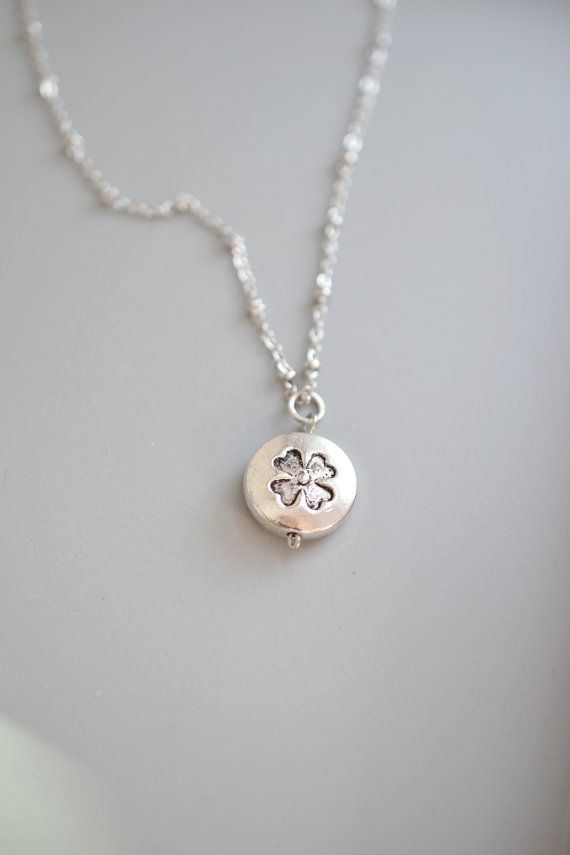Four Leaf Clover Necklace,Silver Four Leaf Clover Charm,Sweet and Simple Leaf Necklace,Good Luck Necklace,Shamrock Holme Inspired,St. Patricks Day,Fortune Lucky Charm