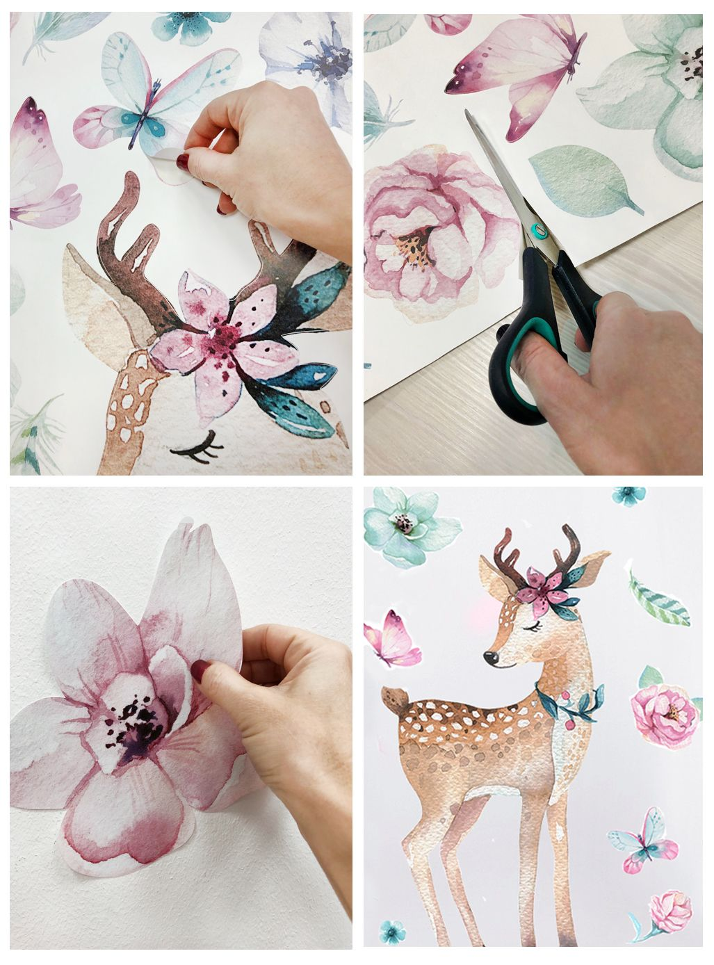 10x10 Girls Bedroom: Wall Decal For Girls Deer With Flowers, Nursery Wall Decal