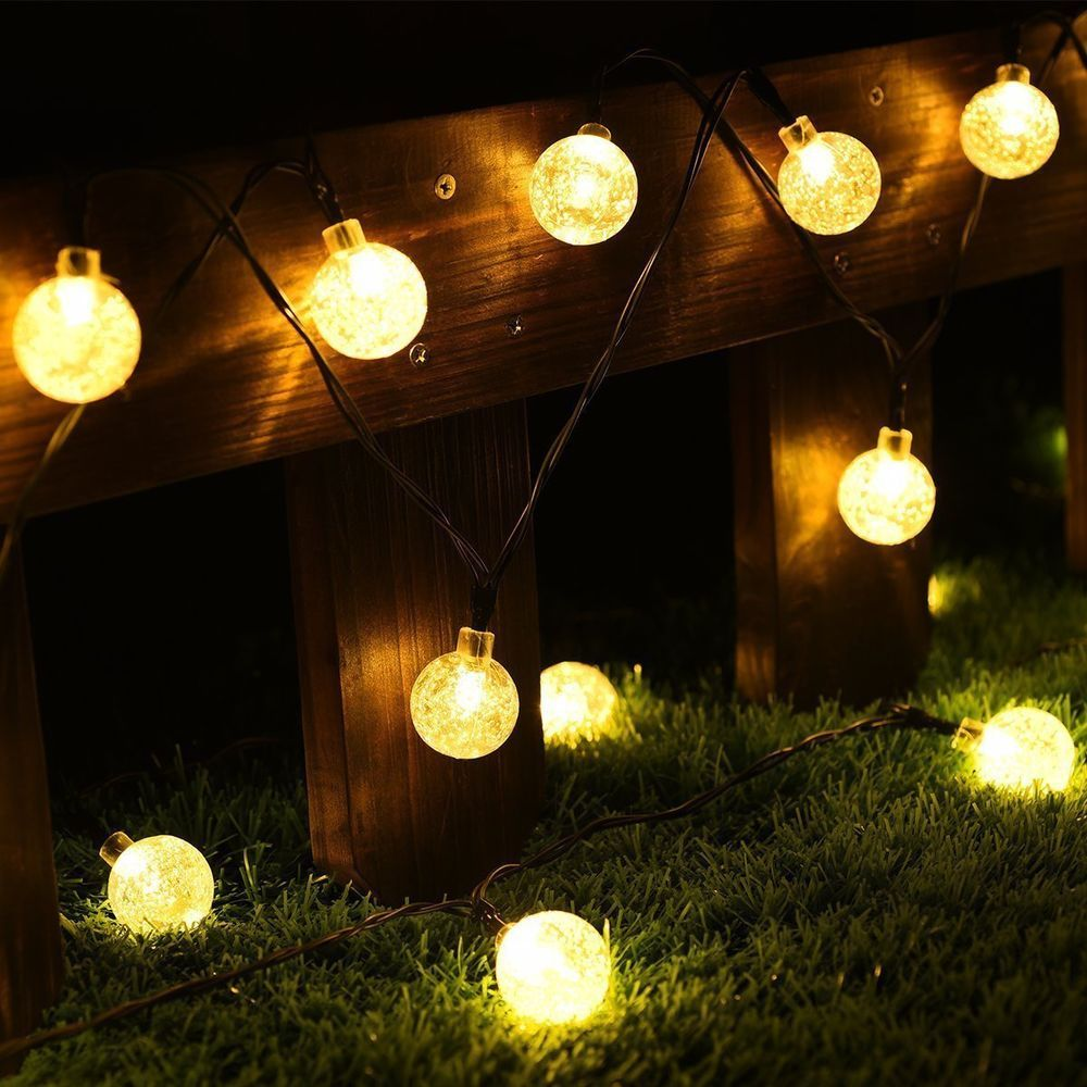 Led solar power outdoor waterproof lights string warm white decor 20 fit aloadofball Image collections
