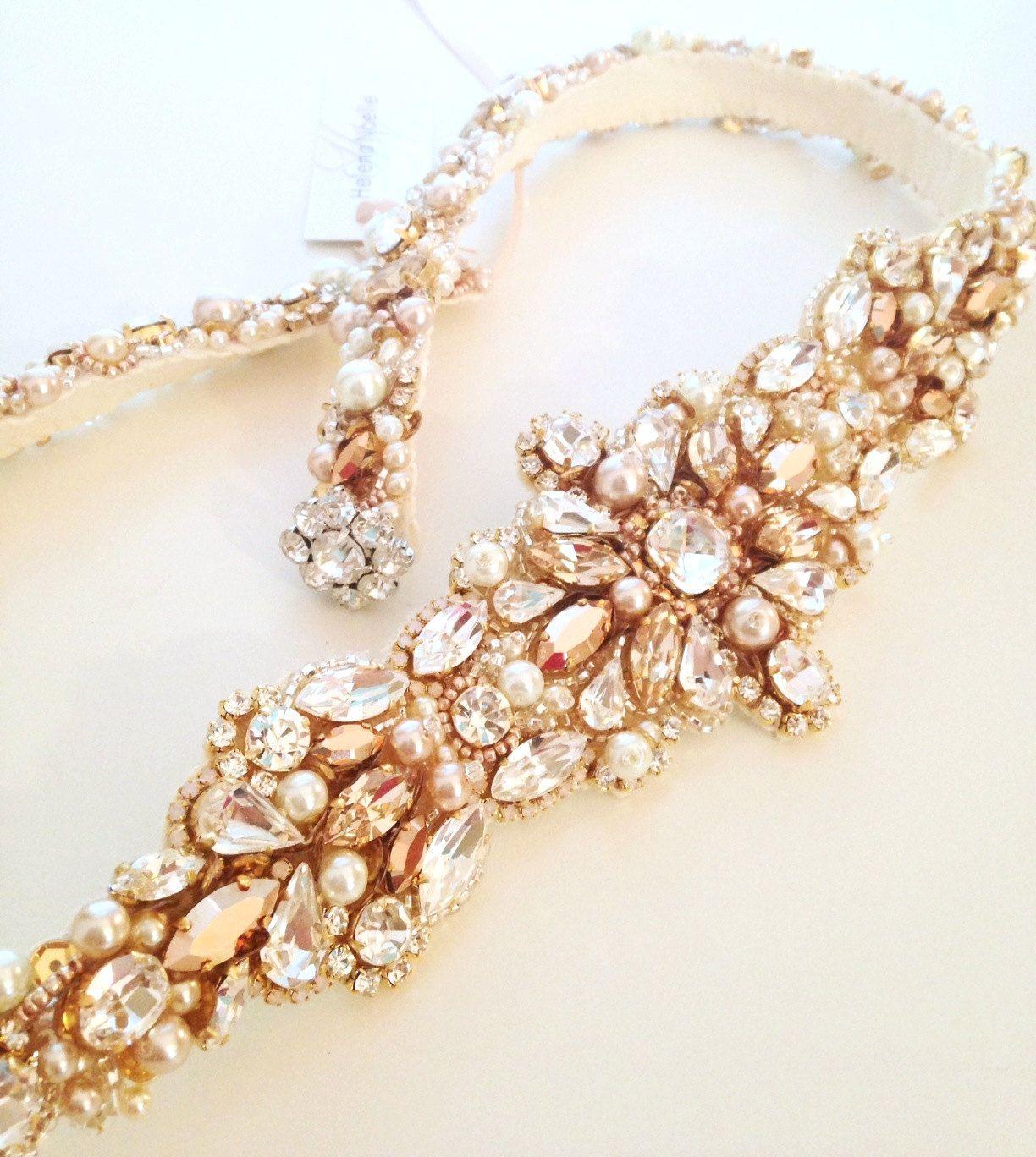 Gold belt for wedding dress  Rose Gold Crystal Bridal Belt SWAROVSKI Rhinestone Sequin and