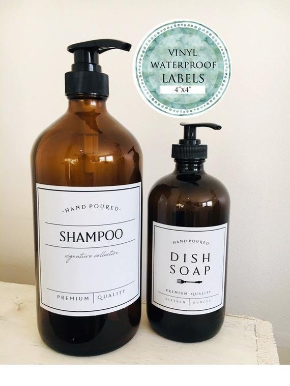 Large 4 Bottle Labels Waterproof Vinyl Labels Etsy Vinyl Labels Shampoo Bottles Design Soap Labels