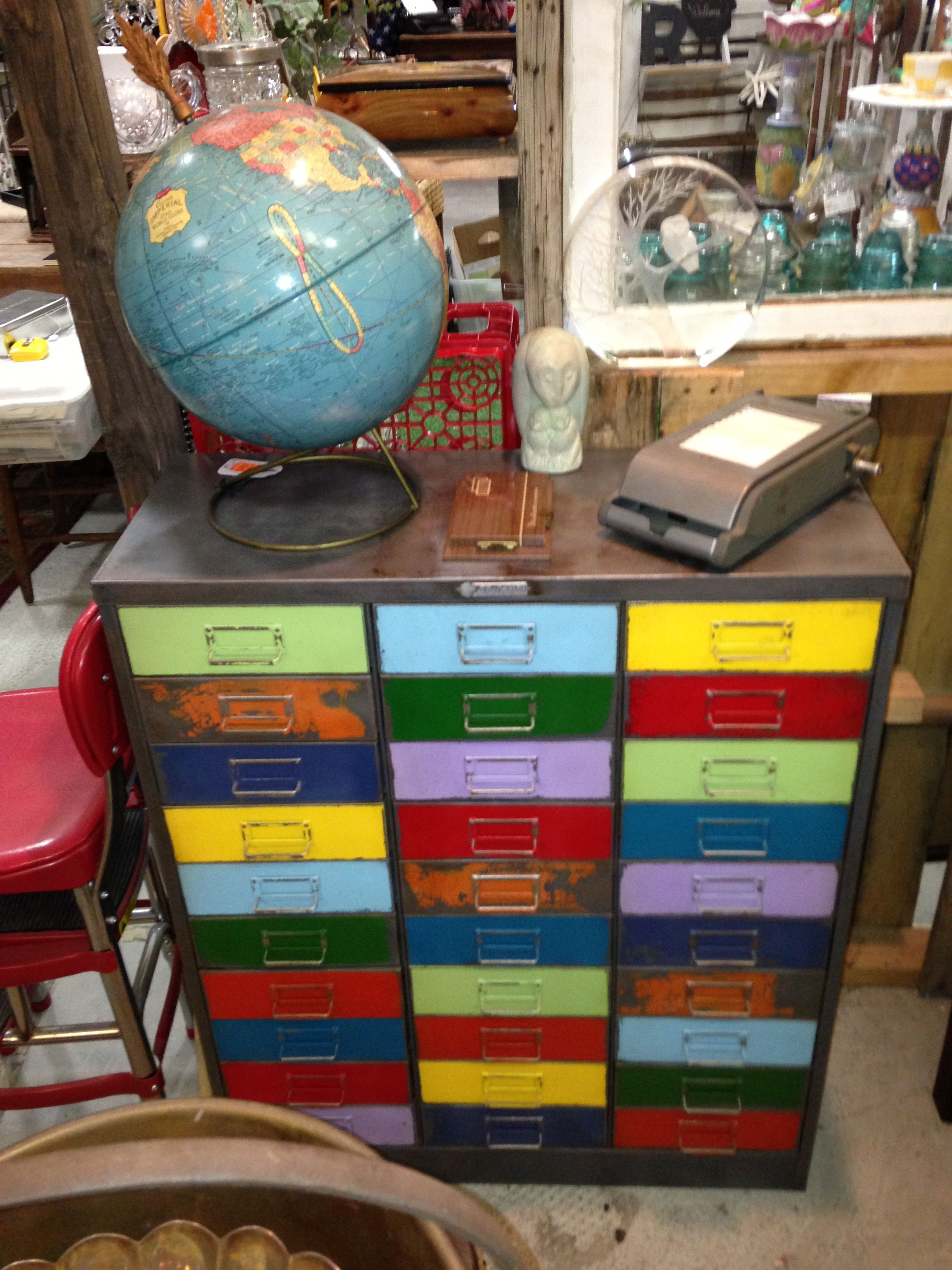 Upcycled industrial painted distressed vintage Upcycled metal filing cabinet