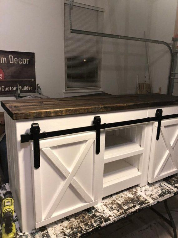 Modern farmhouse style 5 foot media center with barn door slider / 5 foot TV Stand / Storage Cabinet / Sideboard