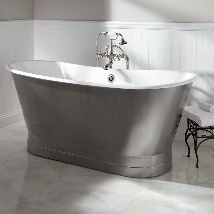COVERDALE BRUSHED STEEL BOAT ROLL TOP CAST IRON FREESTANDING BATH ...