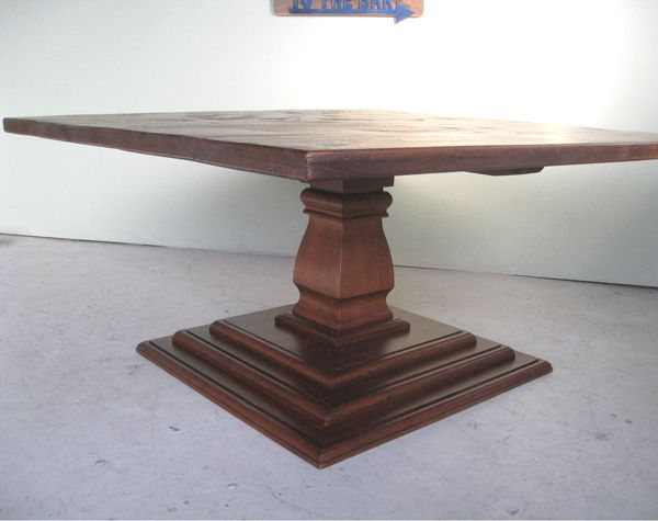 Double Tiered Pedestal Table Wood Base