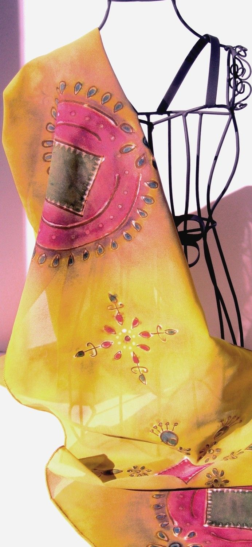 My Kohinoor - Hand Painted Silk Georgette Scarf, with mirrorwork (sheeshakari) motif