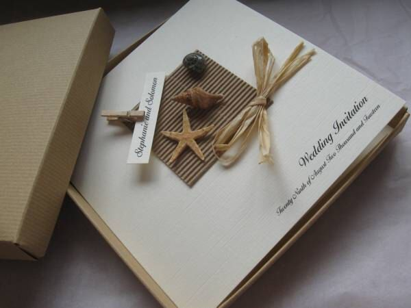 Luxury Starfish & Shell Wedding Invitation - Boxed - Beach Themed Weddings by Cherlaan on Etsy https://www.etsy.com/listing/204106023/luxury-starfish-shell-wedding-invitation