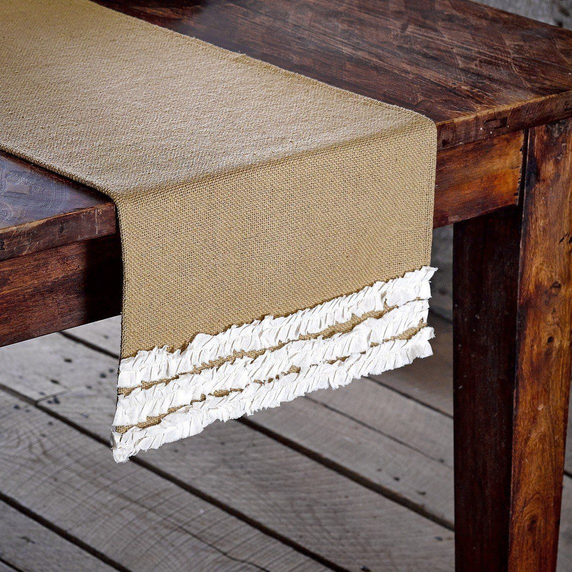 Burlap Table Runner With Triple Voile Ruffle Trim