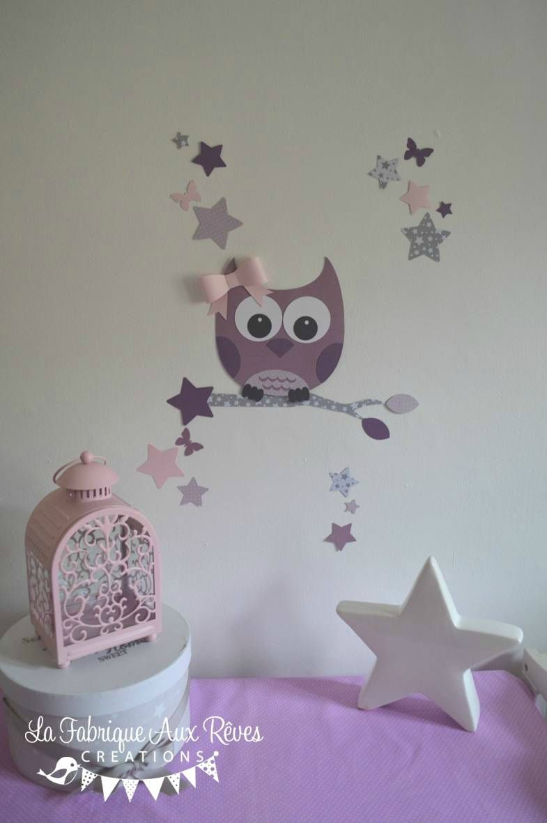 Stickers Decoration Chambre Enfant Fille Bebe Hibou Chouette