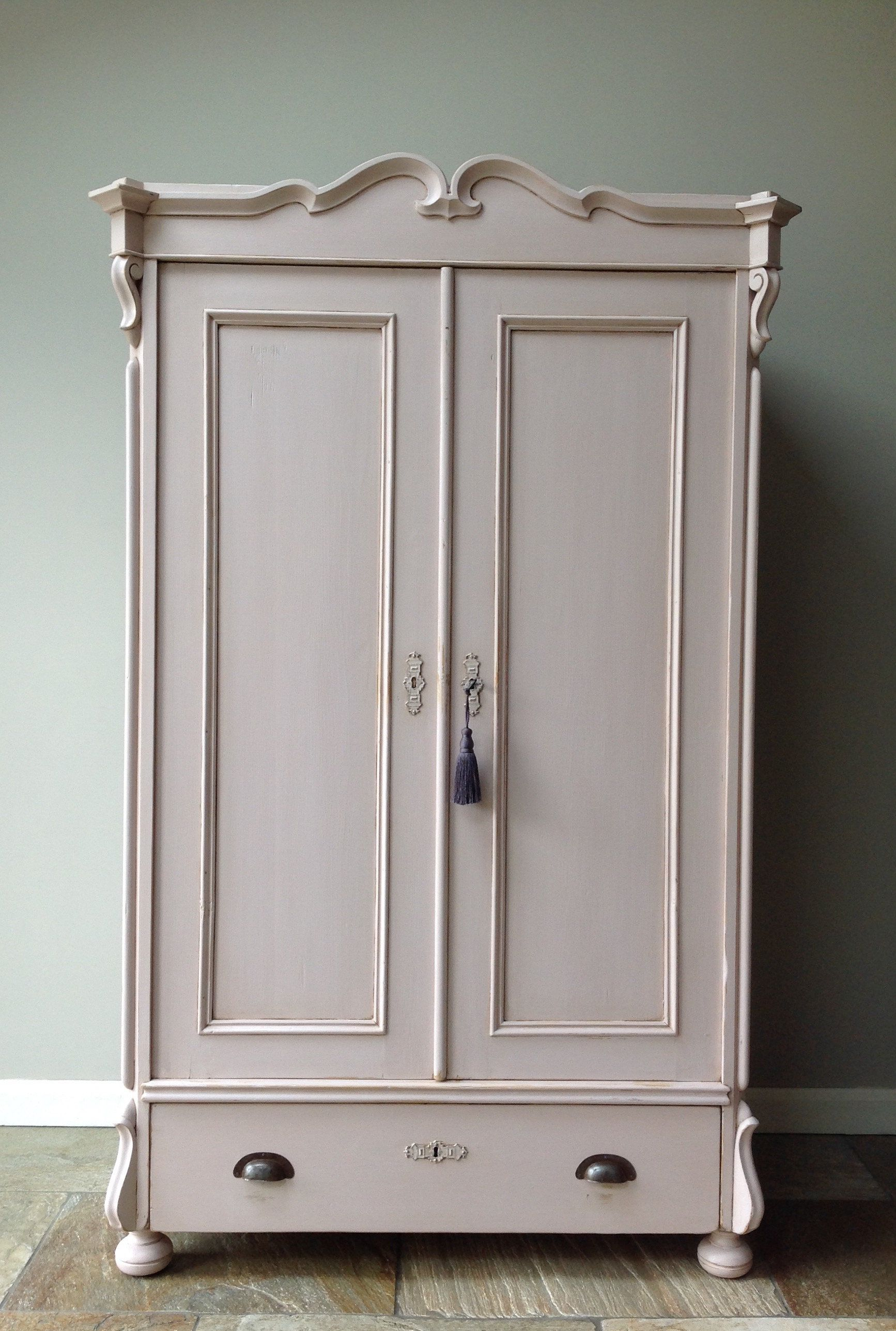 Antique Continental Hand Painted Blush Dusky Pink Pine Wardrobe