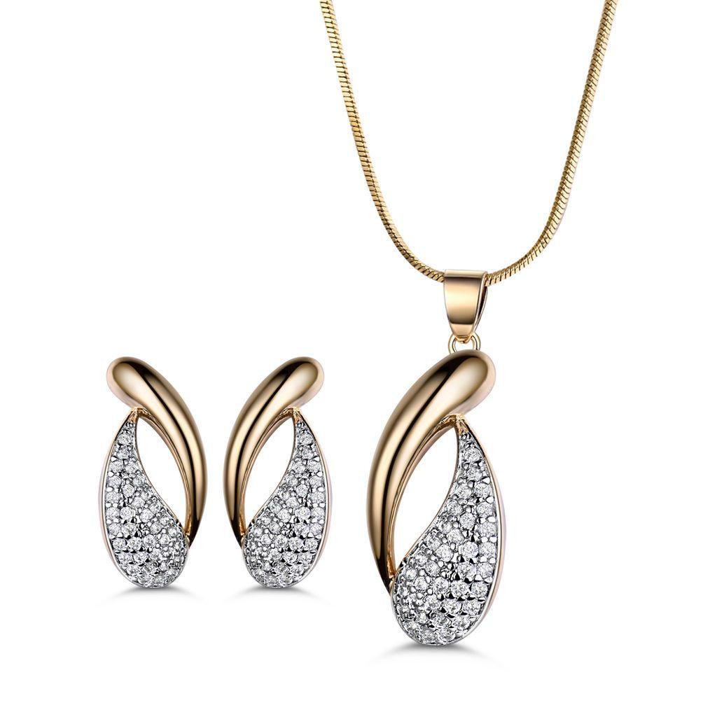Modou round white topaz pendant necklace earrings set k gold