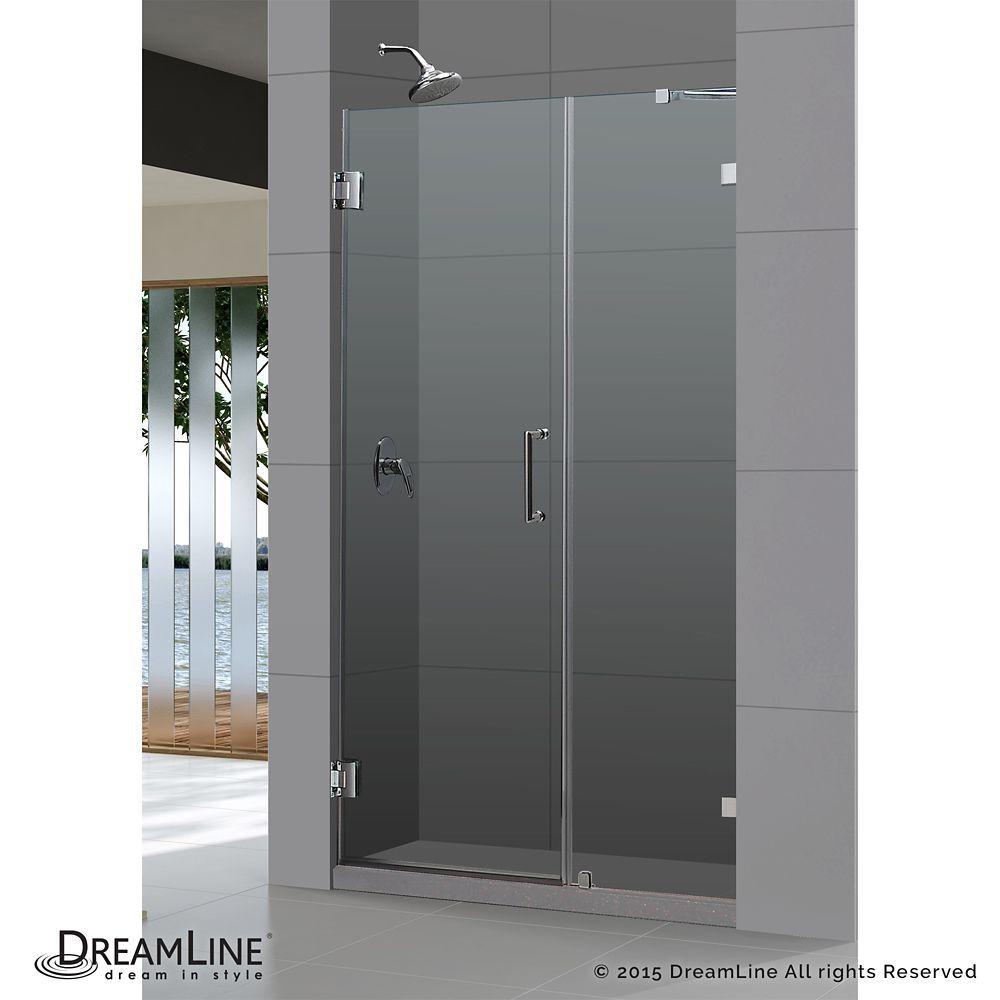 Unidoor Lux 52 Inch X 72 Inch Frameless Pivot Shower Door In