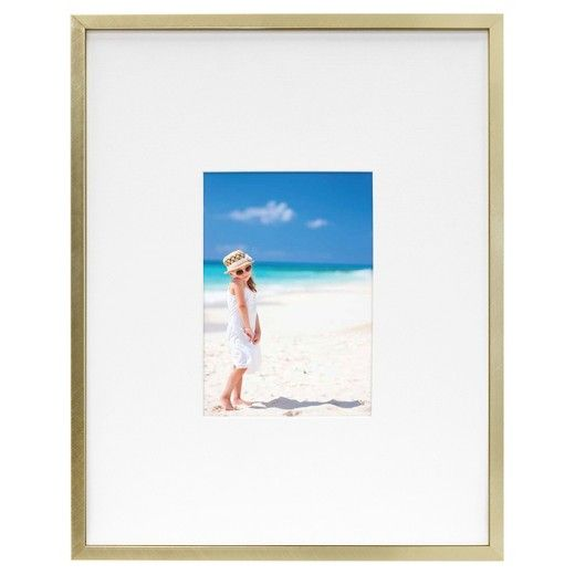 Metal Frame - Brass - 11x14 Matted for 5x7 Photo - Room Essentials ...