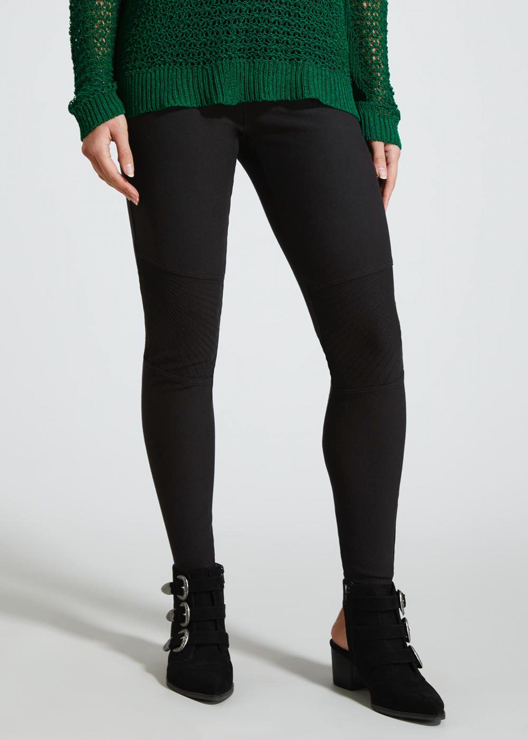 761b775f0c0545 Denim Biker Leggings – Black in 2019   Shoes Boots Bags   Biker ...