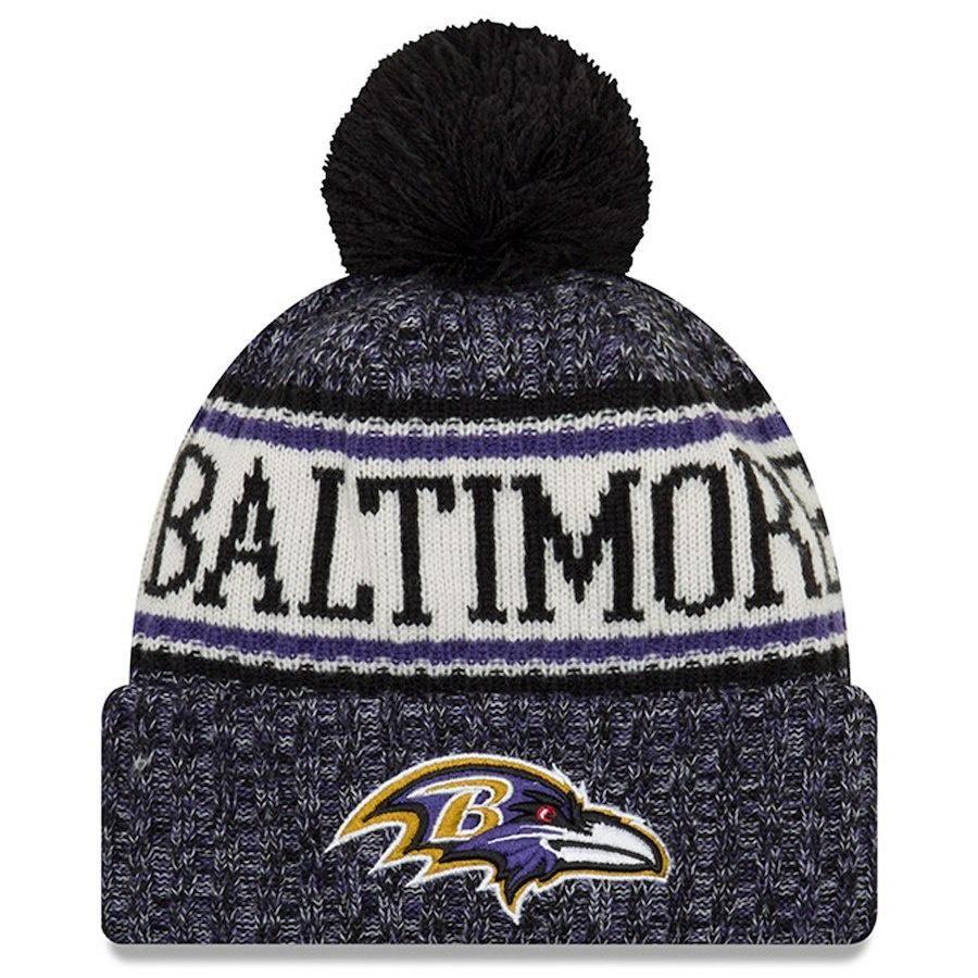 539bf2e6 Men's Baltimore Ravens New Era Black NFL18 Sideline Cold Weather ...
