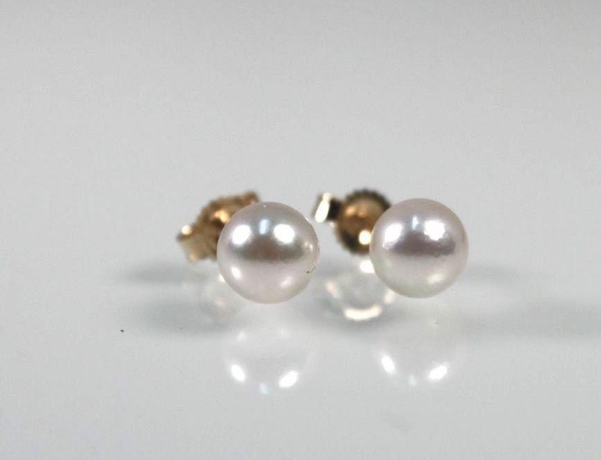 14k gold Cultured pearl earrings pierced stud by WarrenExchange on Etsy