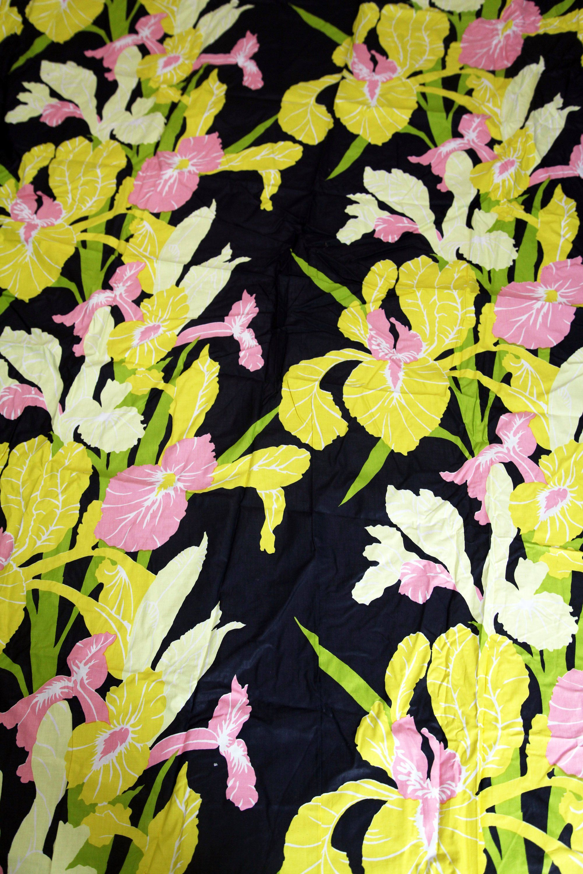 Vintage S M Hexter Hand Print Fabric Panel Floral Iris Pattern Pink Yellow Black By 216vintagemodern On Etsy Hand Printed Fabric Vintage House Fabric Panels