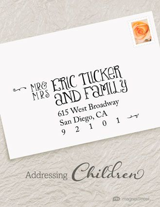 How to properly address wedding invites to include children ...