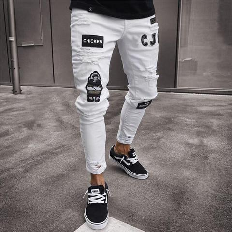 UK Men Ripped Skinny Jeans Trousers Destroyed Frayed Slim Fit Denim Zipper Pants