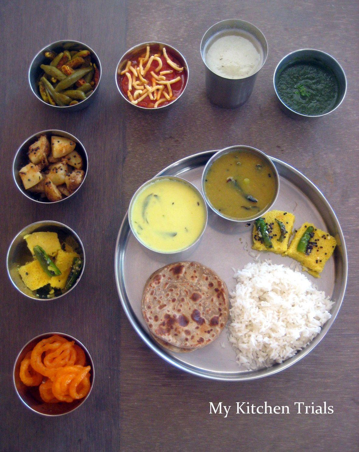 Gujarati Thali Indian food recipes, Gujarati thali, Veg